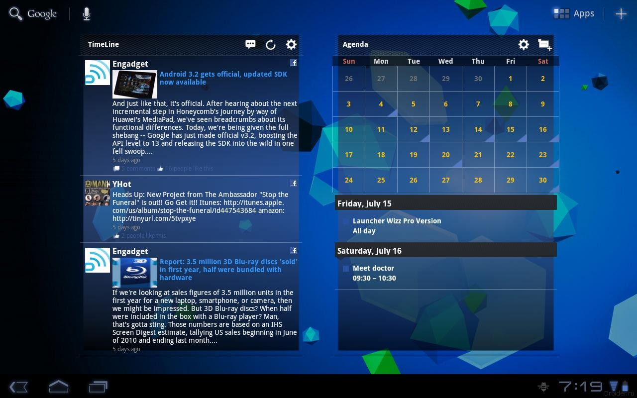 Календарь на рабочий стол windows 7 google