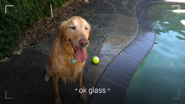 Скриншот видоискателя Google Glass после команды Ok Glass