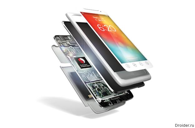 Процессор Snapdragon 810 от Qualcomm в абстрактном смартфоне