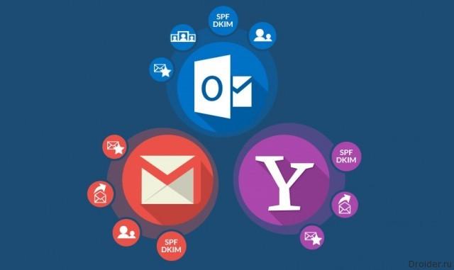 Логотипы почт Gmail. Yahoo и Outlook