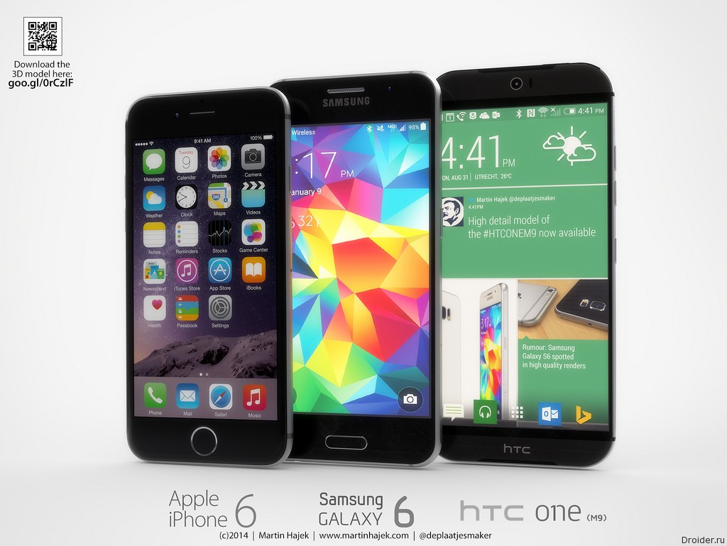 HTC One M9, Samsung Galaxy S6 и iPhone 6