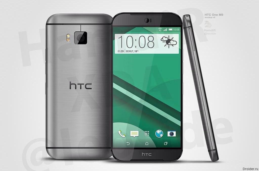 Смартфон HTC One (M9) и чехол Dot View на фото
