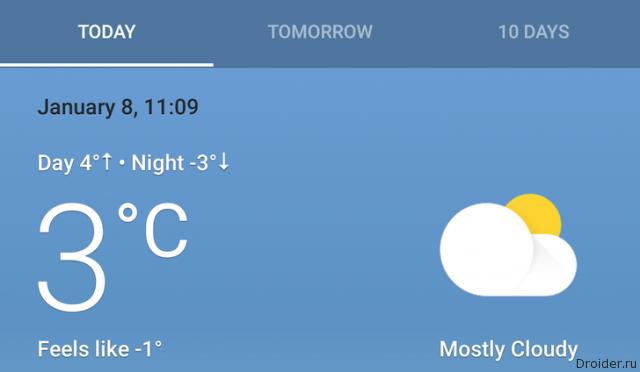 Новые погодные карточки в Google Now