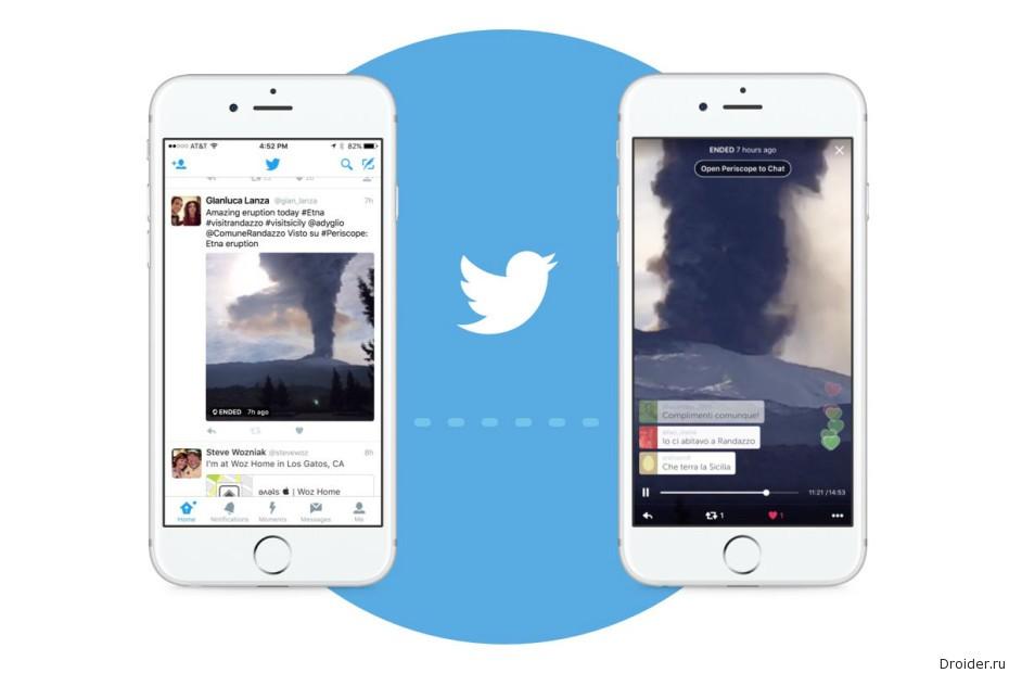 В Twitter можно будет посмотреть Periscope-трансляции