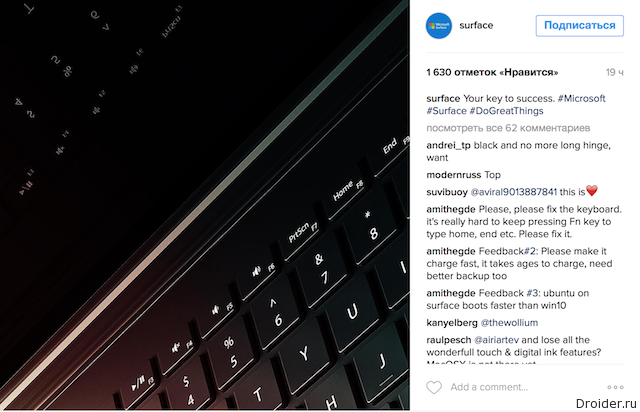 Surface Instagram
