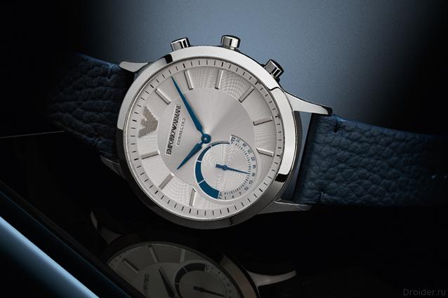 Armani представила гибридные часы сфункцией управления камерой имузыкой на телефоне