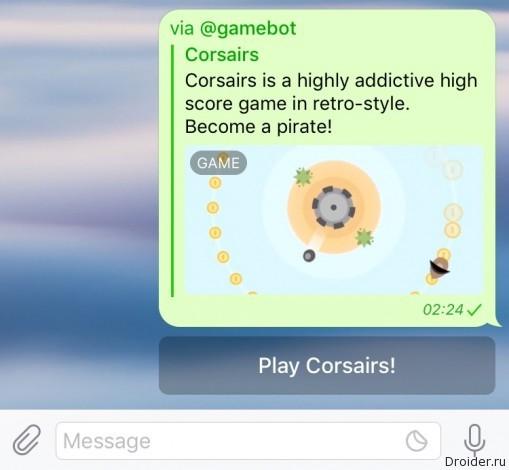 Telegram launched a platform for games inside messenger