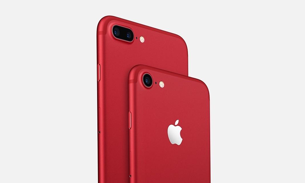 Красный iPhone 7 и просто iPad