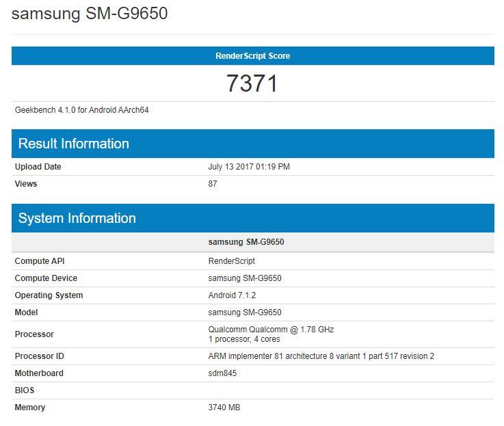 Galaxy S9 «засветил» характеристики