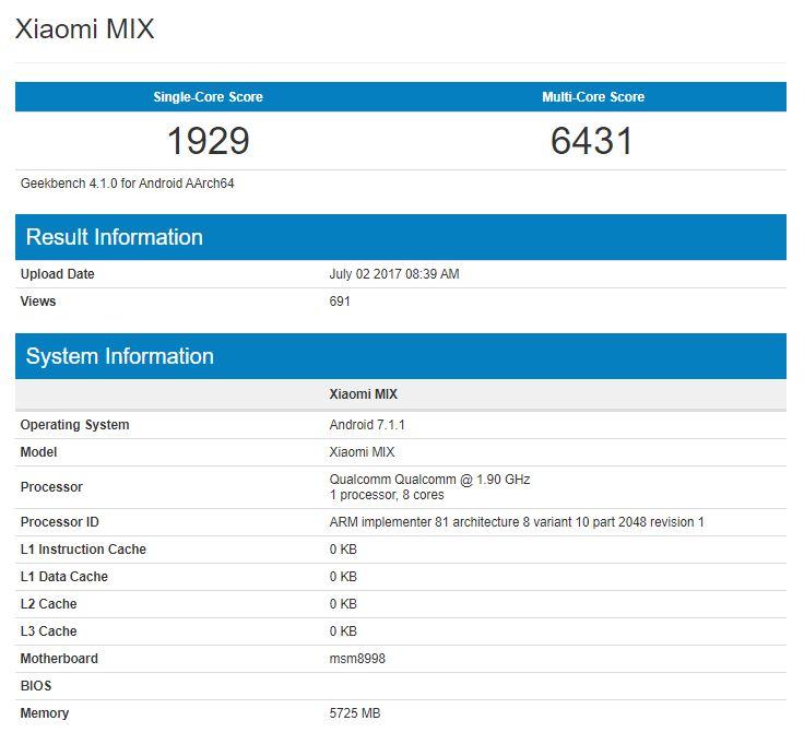 Mi Mix 2 замечен в бенчмарке