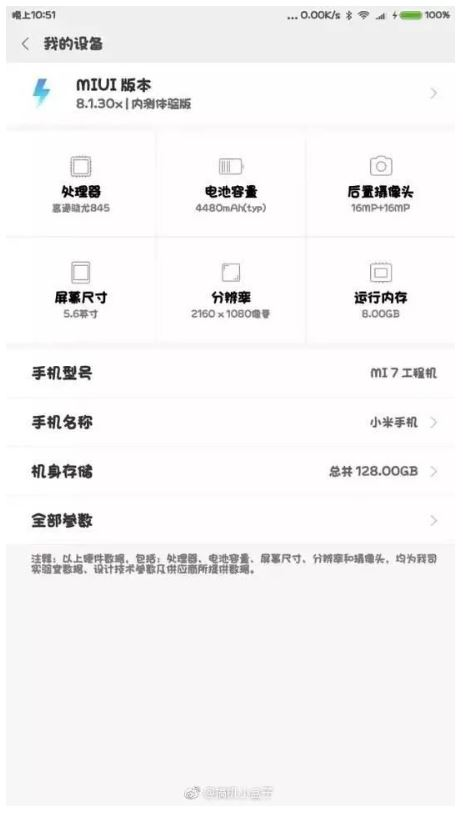Подробности о параметрах Mi 7