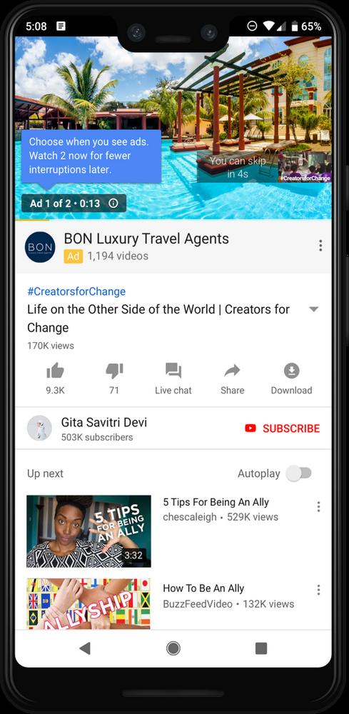 Реклама в YouTube станет продолжительнее