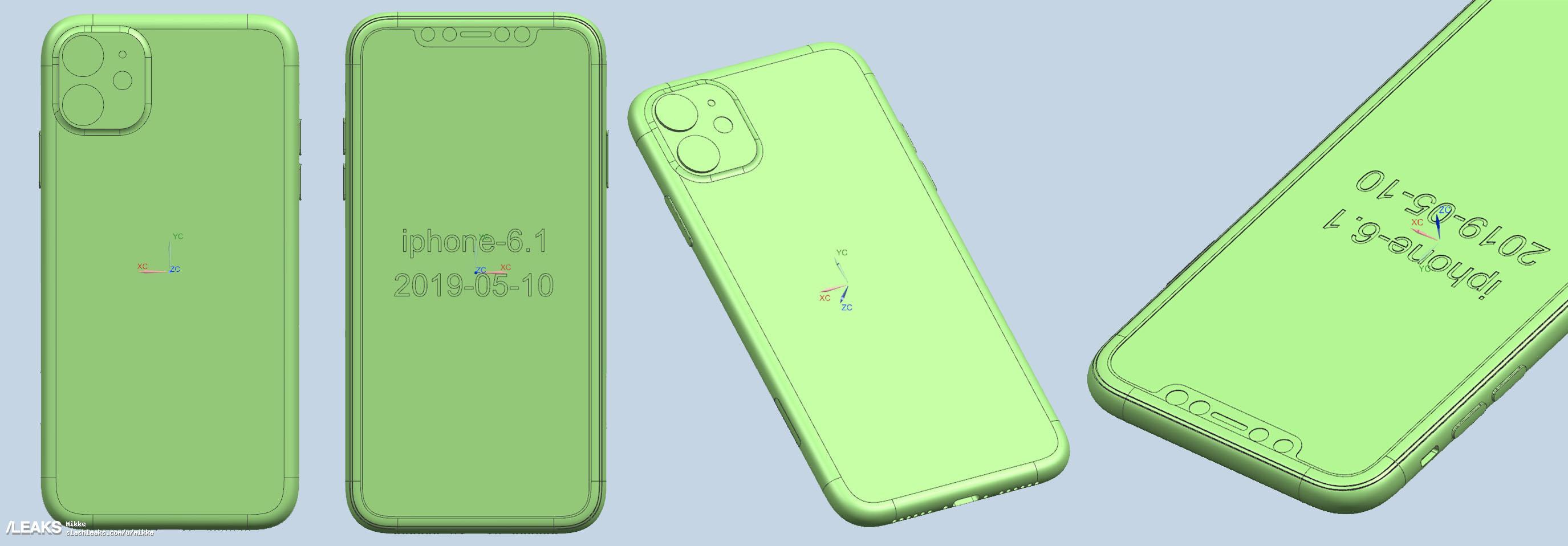 3 смартфона Apple на заводских рендерах