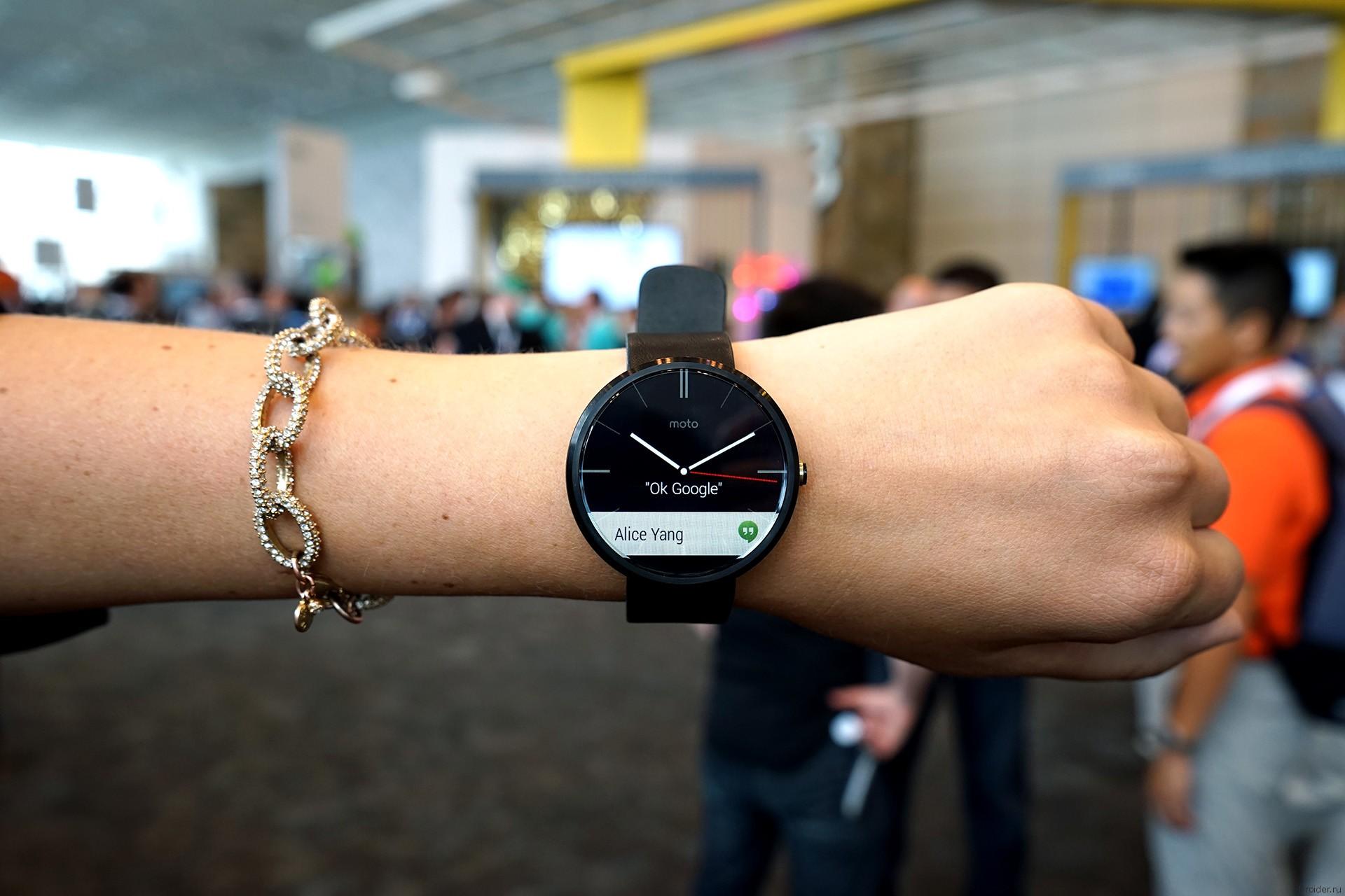 Смарт-часы Moto 360 от Motorola на конференции Google I/O 2014