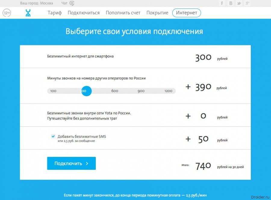 Тарифы мобильного интернета у оператора Yota