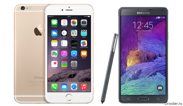 Смартфон iPhone 6 Plus и Galaxy Note 4