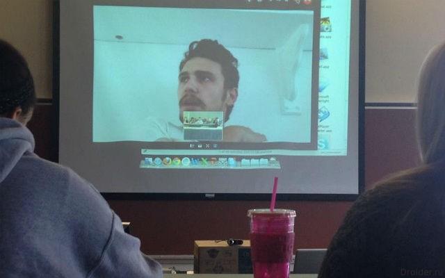 Актер Джеймс Франко общается с поклонниками по Skype