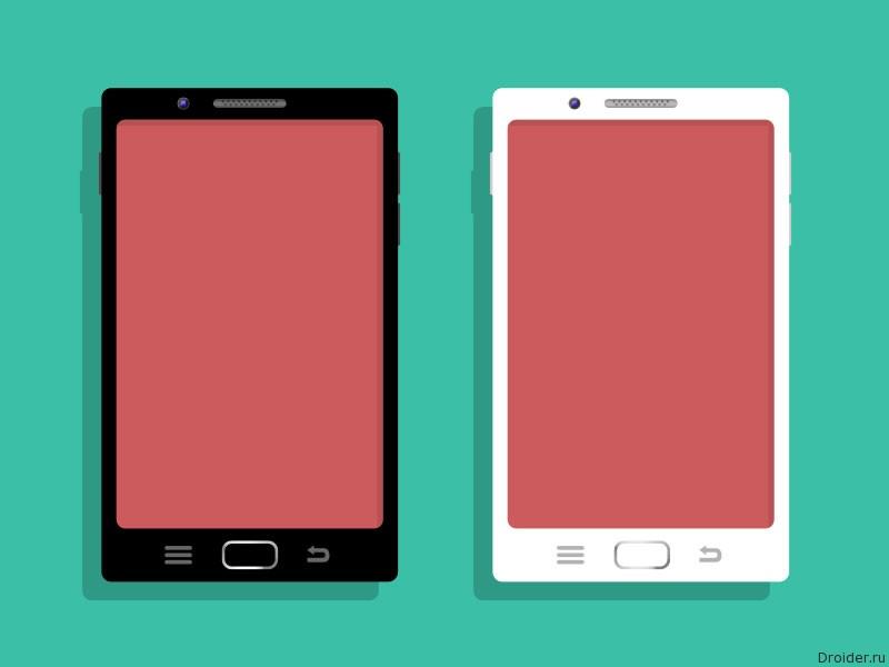 Белый смартфон и черный смартфон
