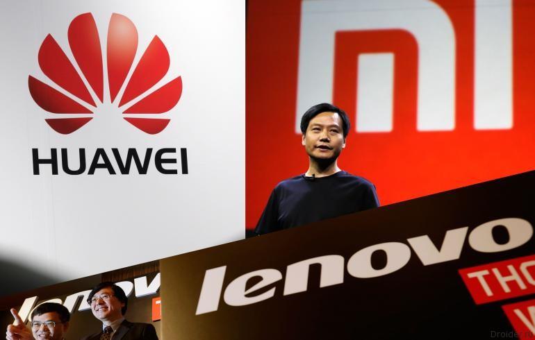 Логотипы компаний Huawei, Lenovo, Xiaomi