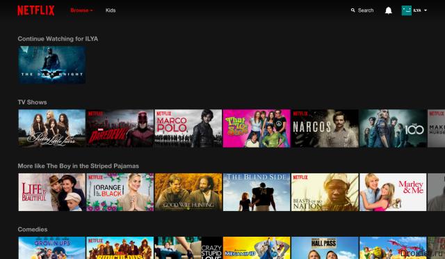 Интерфейс Netflix